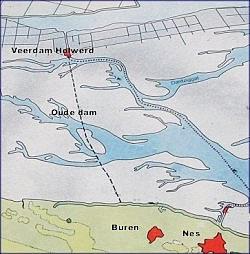 Dam tussen Ameland en de Friese kust